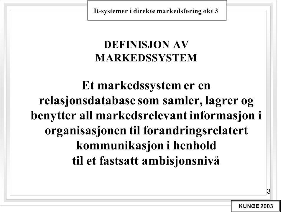 DEFINISJON AV MARKEDSSYSTEM Et markedssystem er en relasjonsdatabase som samler, lagrer og benytter all markedsrelevant informasjon i organisasjonen til forandringsrelatert kommunikasjon i henhold til et fastsatt ambisjonsnivå