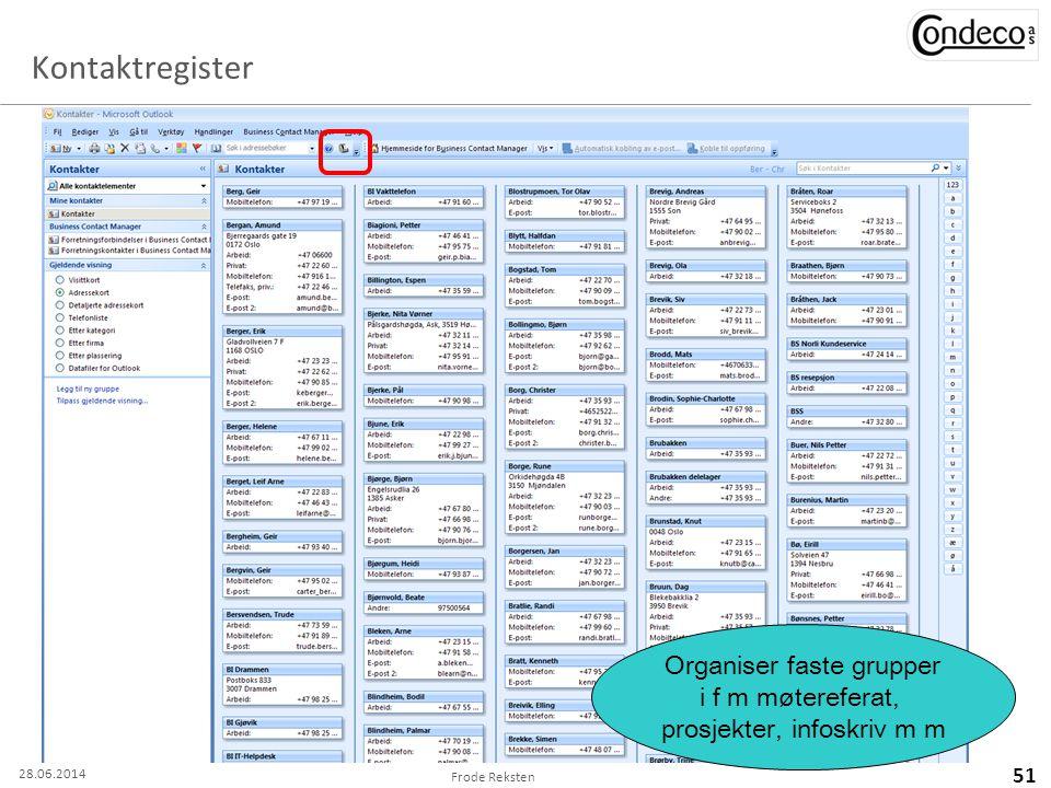 Organiser faste grupper i f m møtereferat, prosjekter, infoskriv m m