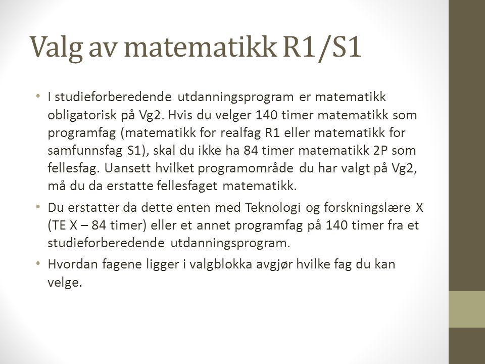 Valg av matematikk R1/S1