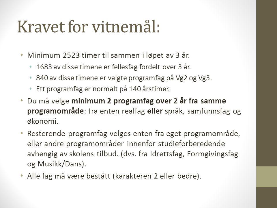 Kravet for vitnemål: Minimum 2523 timer til sammen i løpet av 3 år.