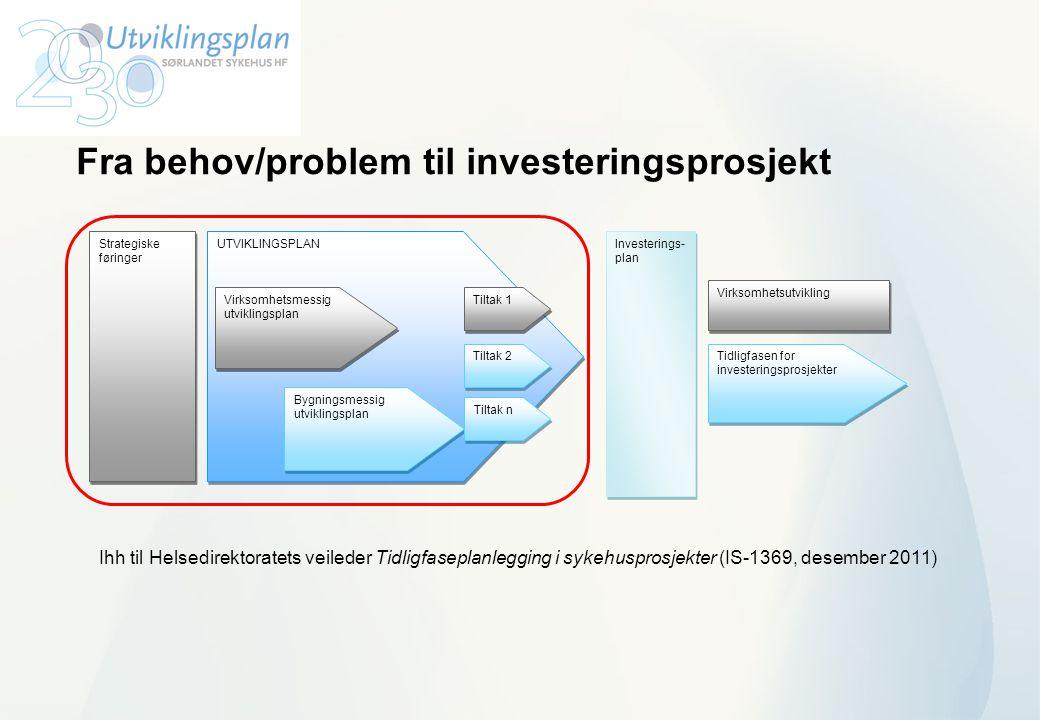 Fra behov/problem til investeringsprosjekt