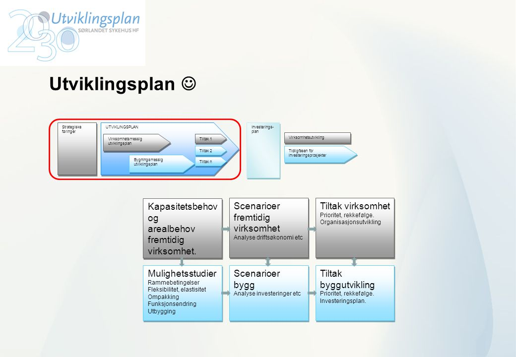 Utviklingsplan  Kapasitetsbehov og arealbehov fremtidig virksomhet.
