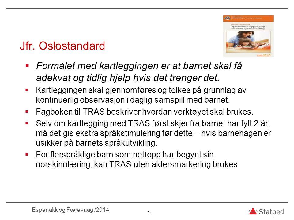 03.04.2017 Jfr. Oslostandard. Formålet med kartleggingen er at barnet skal få adekvat og tidlig hjelp hvis det trenger det.