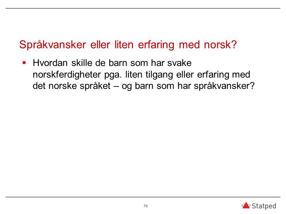 Språkvansker eller liten erfaring med norsk