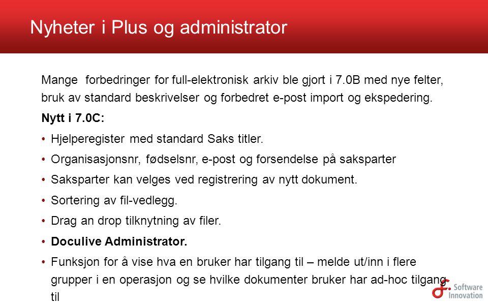 Nyheter i Plus og administrator