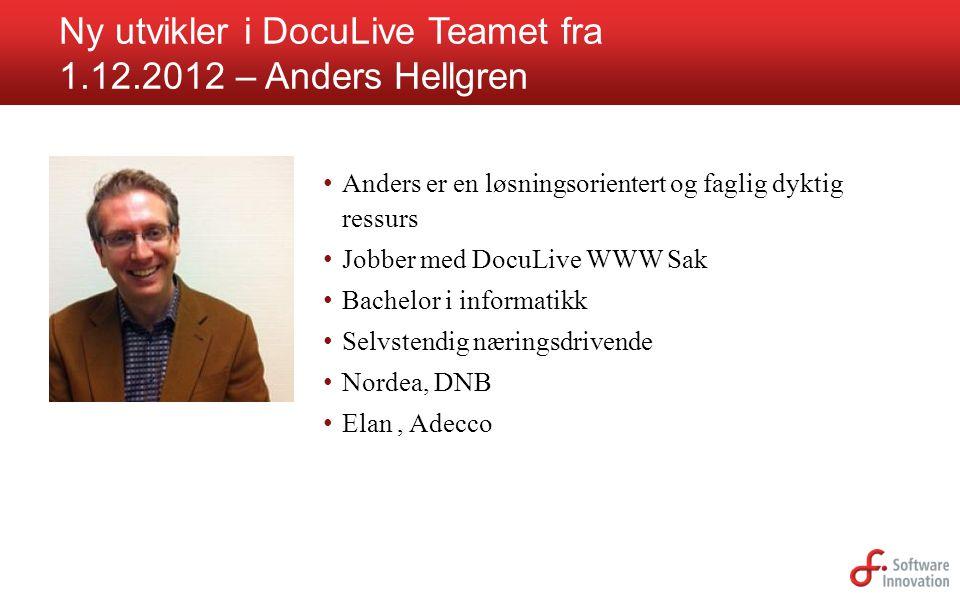 Ny utvikler i DocuLive Teamet fra 1.12.2012 – Anders Hellgren