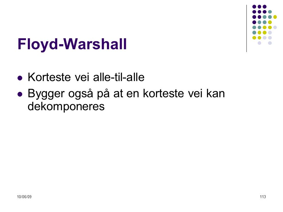 Floyd-Warshall Korteste vei alle-til-alle