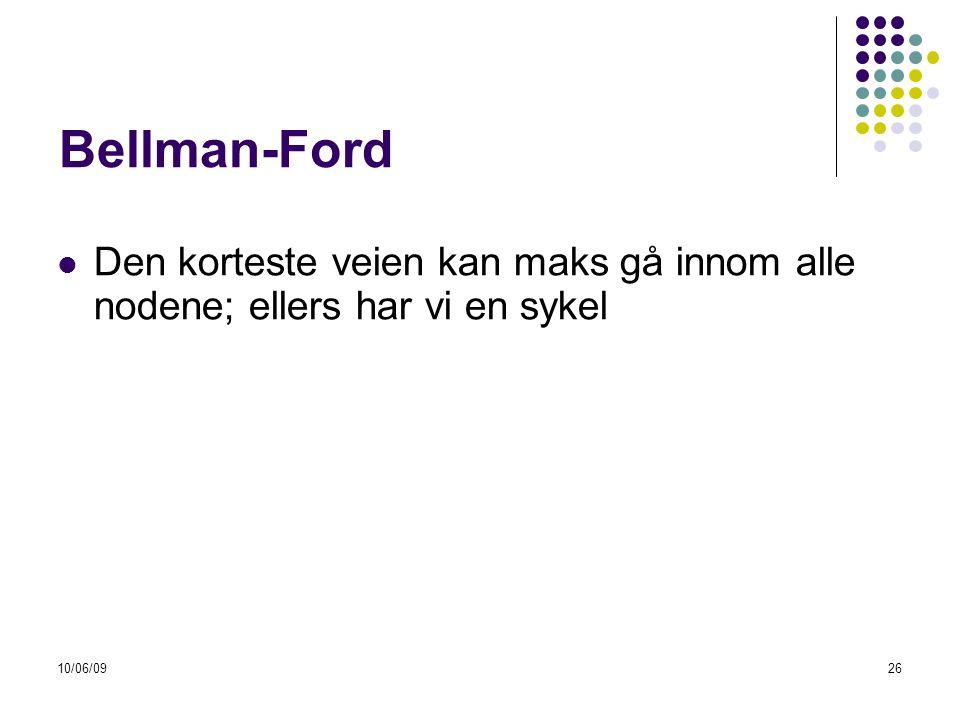 Bellman-Ford Den korteste veien kan maks gå innom alle nodene; ellers har vi en sykel 10/06/09