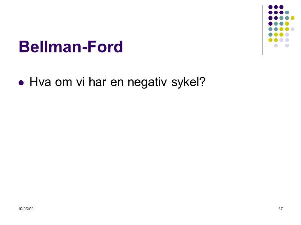 Bellman-Ford Hva om vi har en negativ sykel 10/06/09