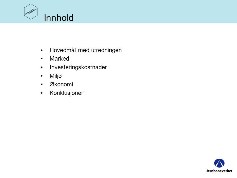 Innhold Hovedmål med utredningen Marked Investeringskostnader Miljø