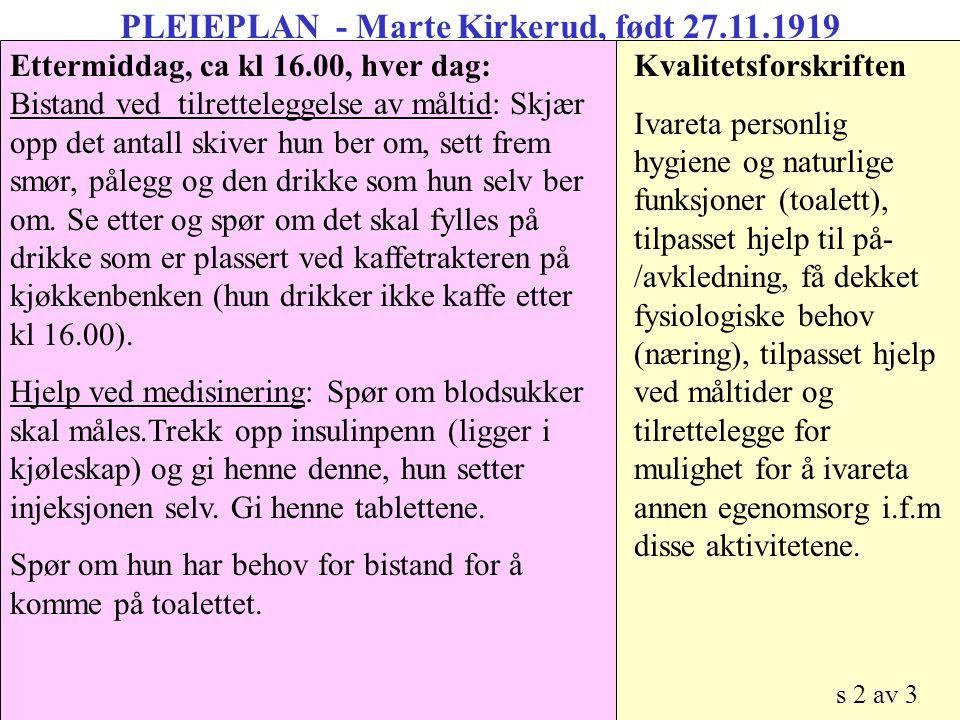 PLEIEPLAN - Marte Kirkerud, født 27.11.1919