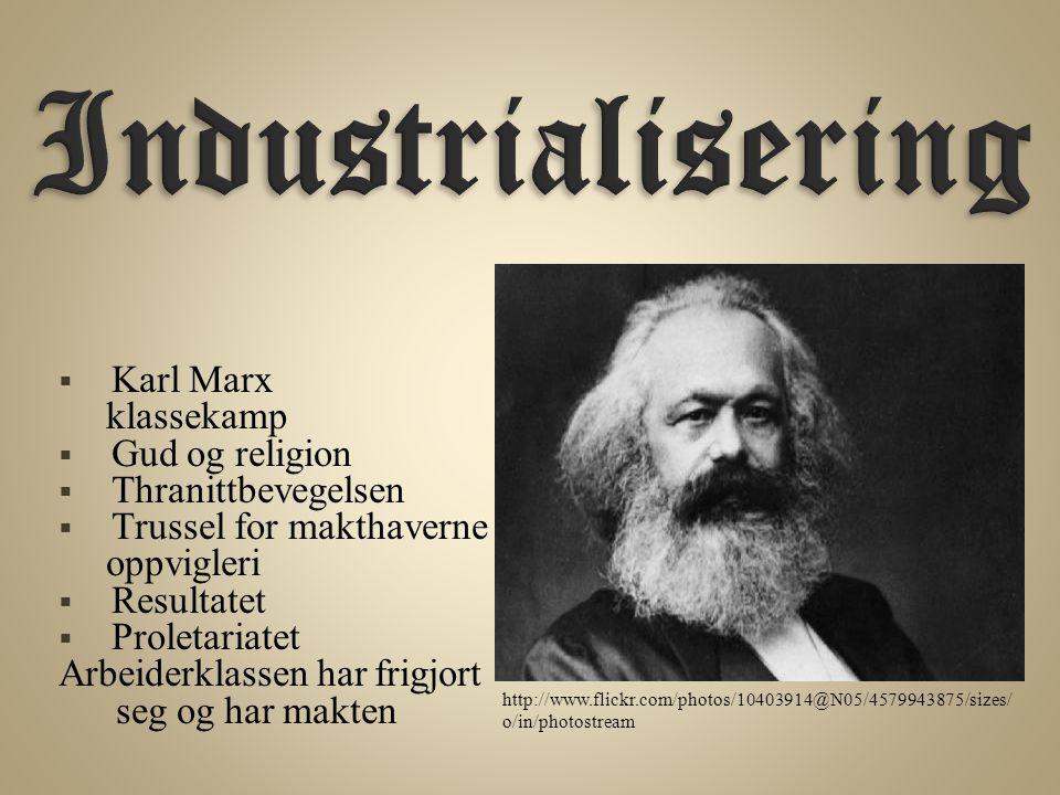 Industrialisering Karl Marx klassekamp Gud og religion