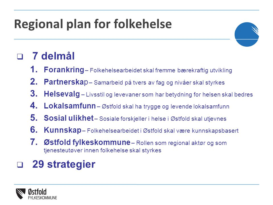 Regional plan for folkehelse