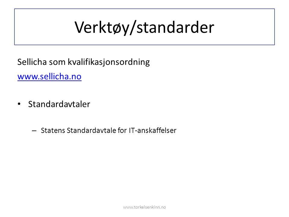 Verktøy/standarder Sellicha som kvalifikasjonsordning www.sellicha.no