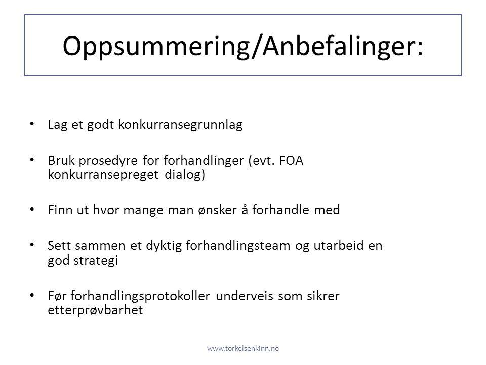 Oppsummering/Anbefalinger: