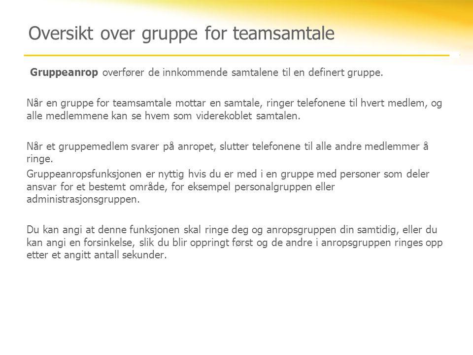 Oversikt over gruppe for teamsamtale