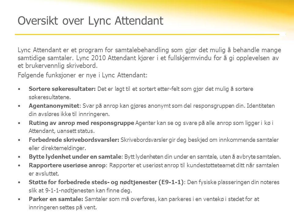 Oversikt over Lync Attendant