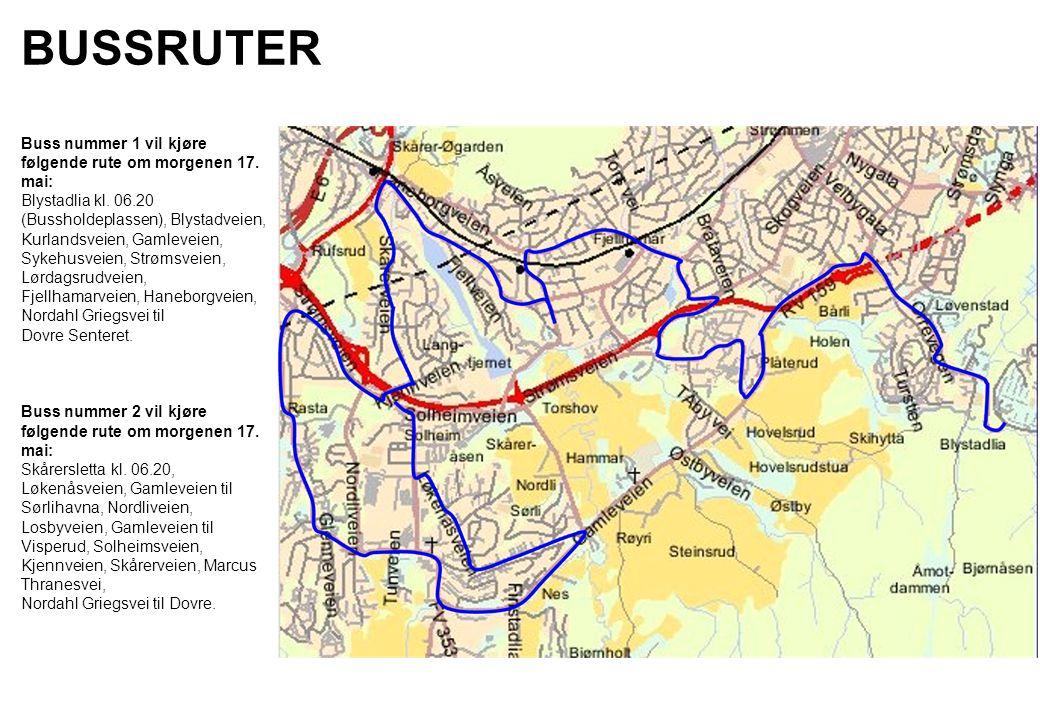 BUSSRUTER Buss nummer 1 vil kjøre følgende rute om morgenen 17. mai: