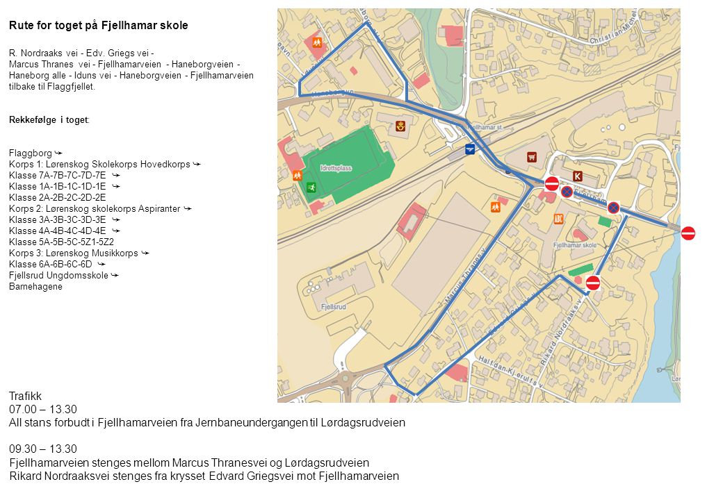 Rute for toget på Fjellhamar skole