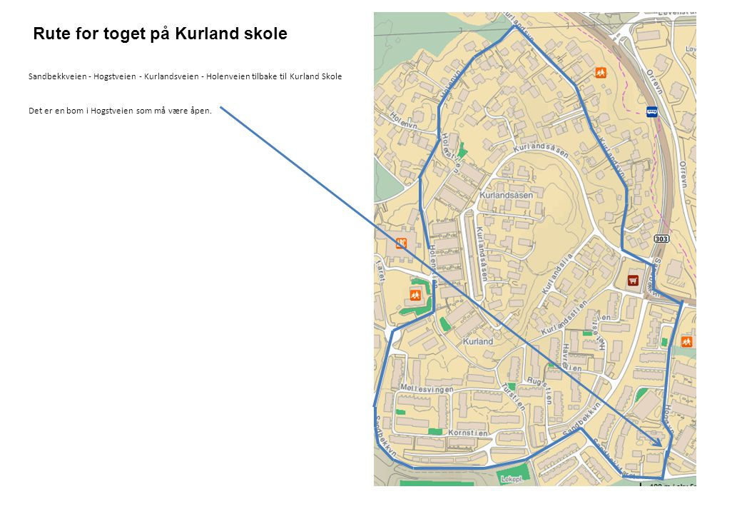 Rute for toget på Kurland skole