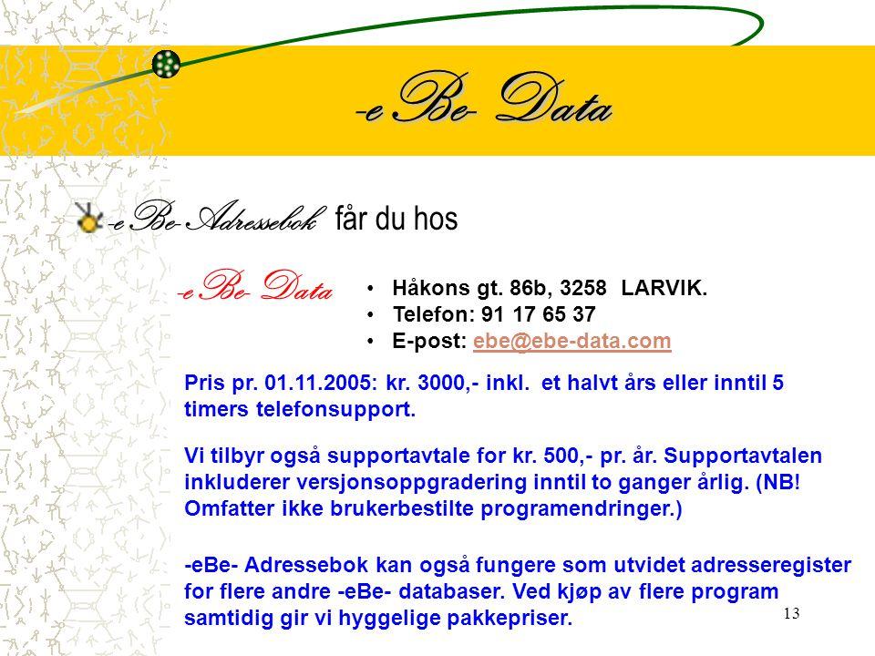 -eBe- Data -eBe- Adressebok får du hos -eBe- Data