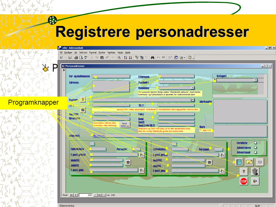 Registrere personadresser