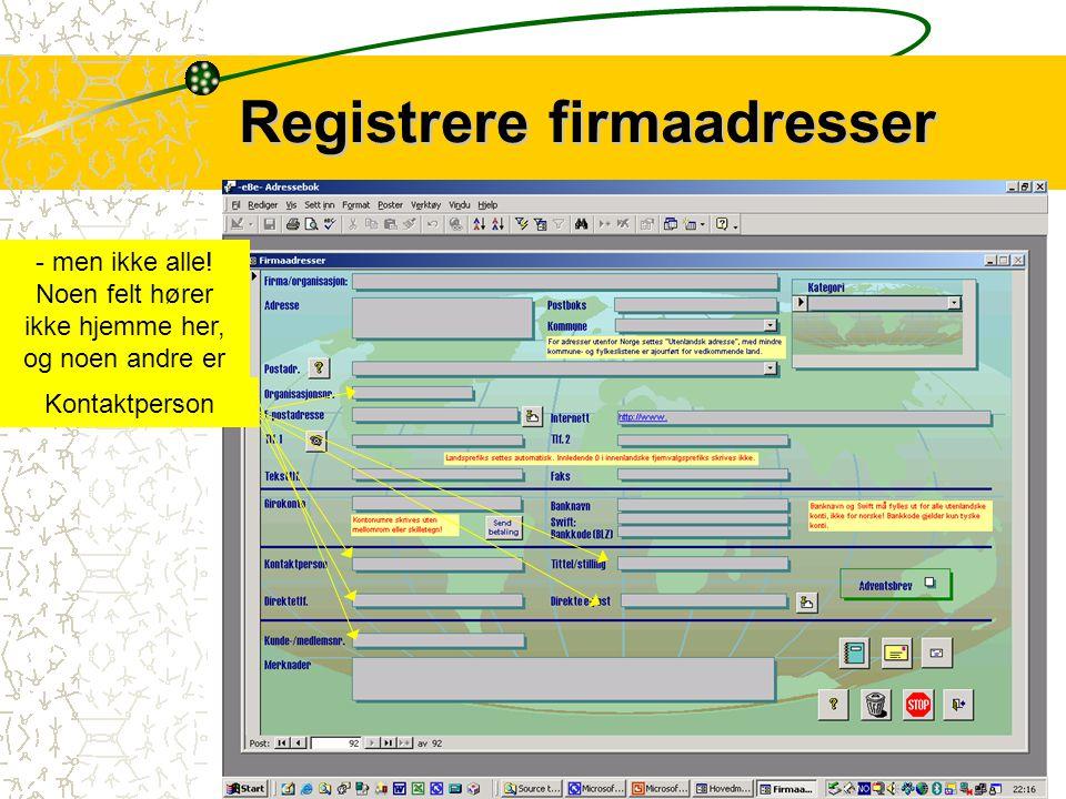 Registrere firmaadresser