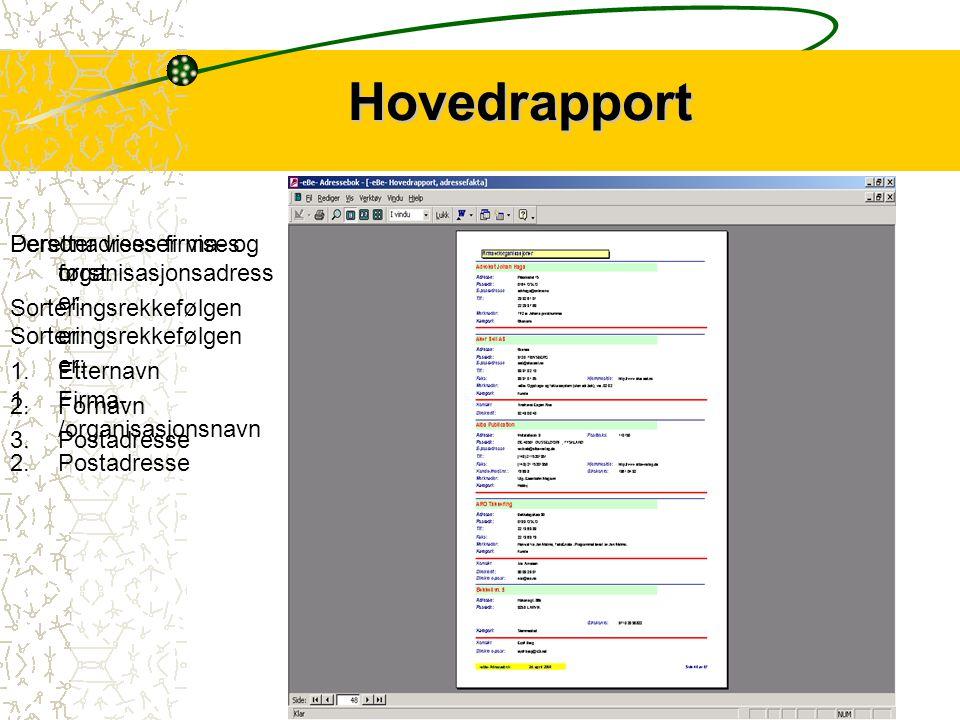 Hovedrapport Hovedrapporten viser alle opplysninger som er registrert på den enkelte kontakt – med unntak av kontoopplysninger og personnummer.