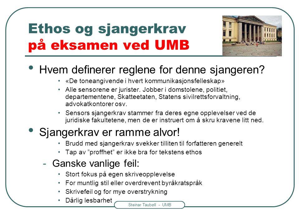 Ethos og sjangerkrav på eksamen ved UMB