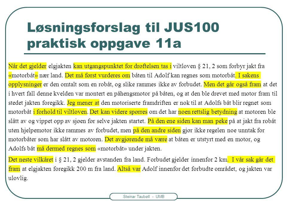 Løsningsforslag til JUS100 praktisk oppgave 11a