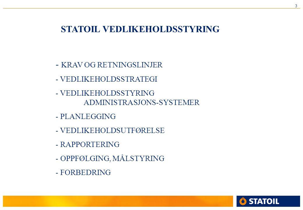 STATOIL VEDLIKEHOLDSSTYRING