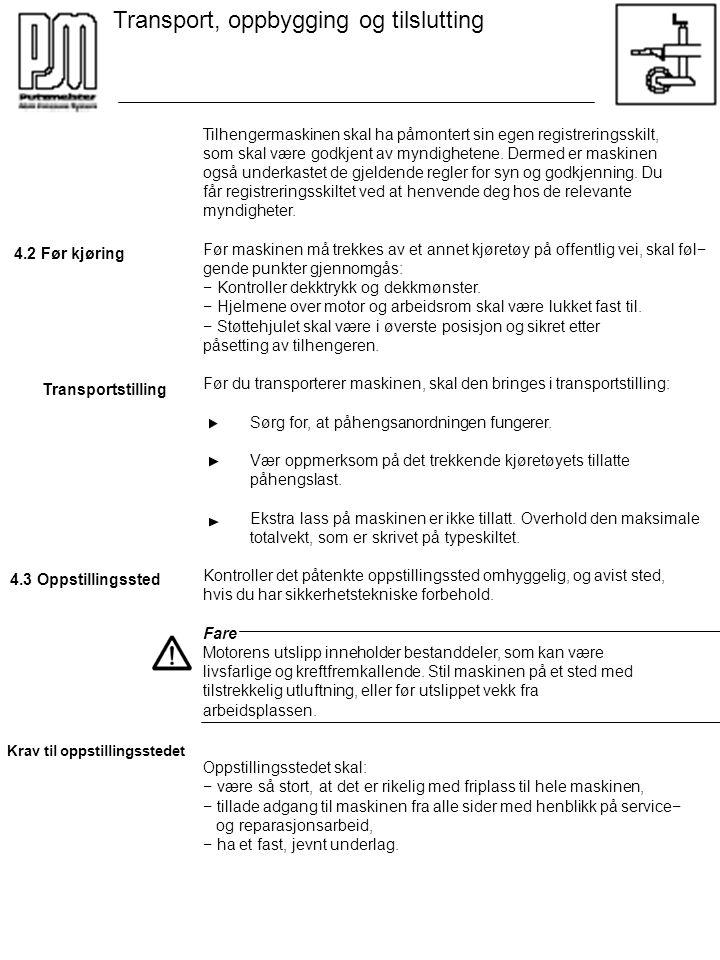 Transport, oppbygging og tilslutting