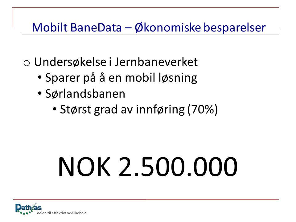 Mobilt BaneData – Økonomiske besparelser