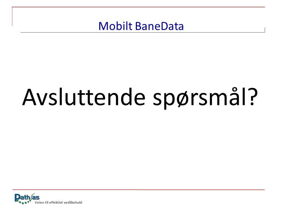 Mobilt BaneData Avsluttende spørsmål Veien til effektivt vedlikehold