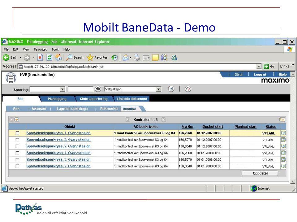 Mobilt BaneData - Demo Arbeidsordre generert fra huvud-FU'er
