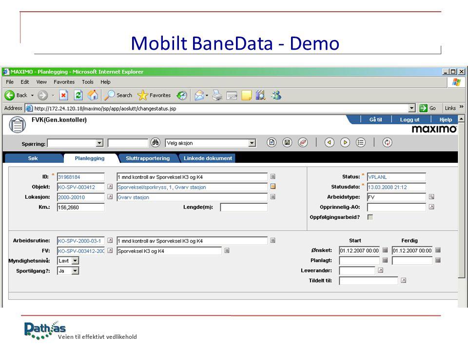 Mobilt BaneData - Demo Abreidsordre som ennå ikke er planlagt.