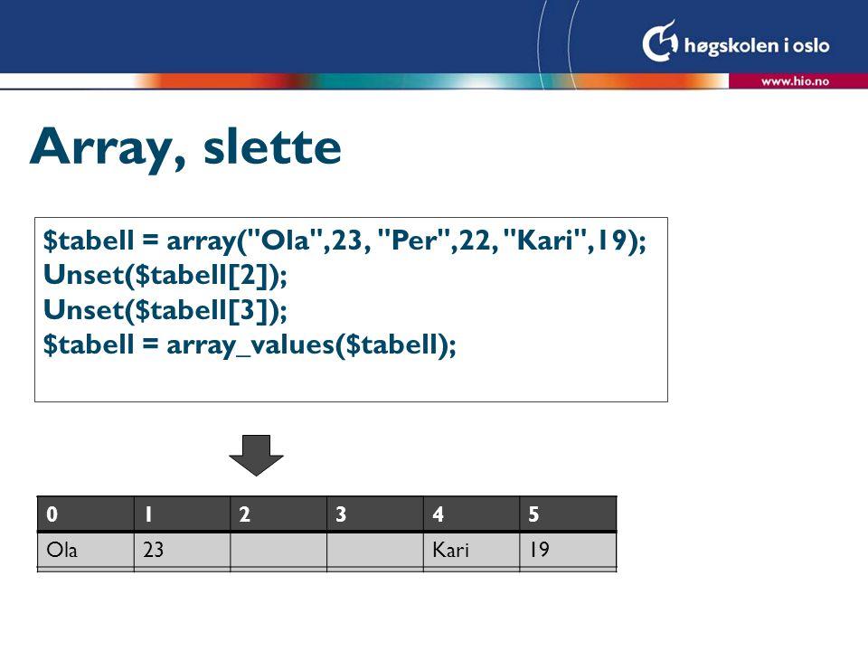 Array, slette $tabell = array( Ola ,23, Per ,22, Kari ,19);
