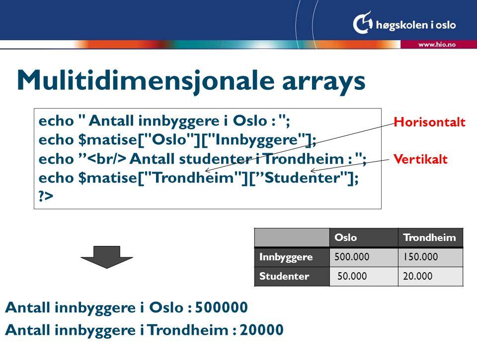 Mulitidimensjonale arrays