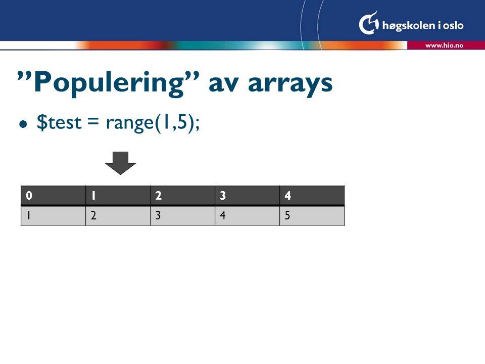 Populering av arrays