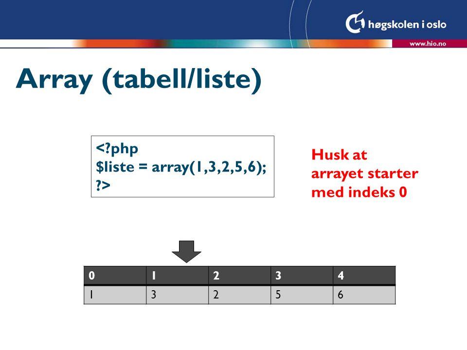 Array (tabell/liste) < php Husk at arrayet starter med indeks 0