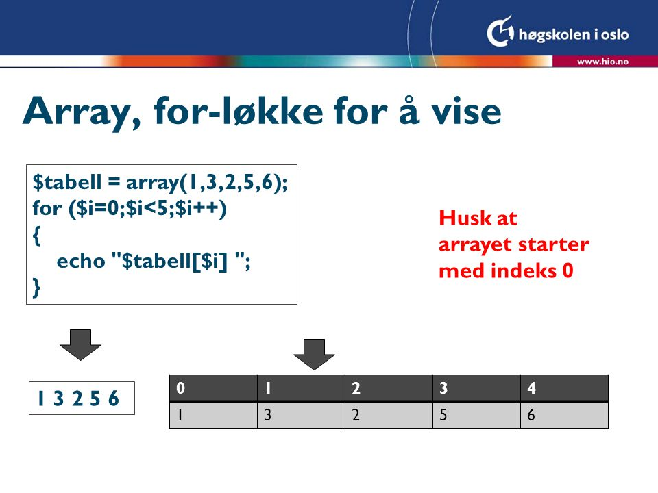 Array, for-løkke for å vise