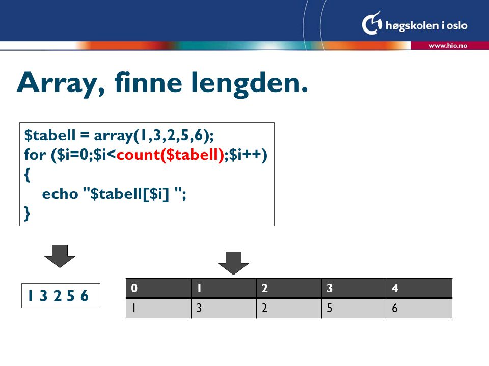 Array, finne lengden. $tabell = array(1,3,2,5,6);