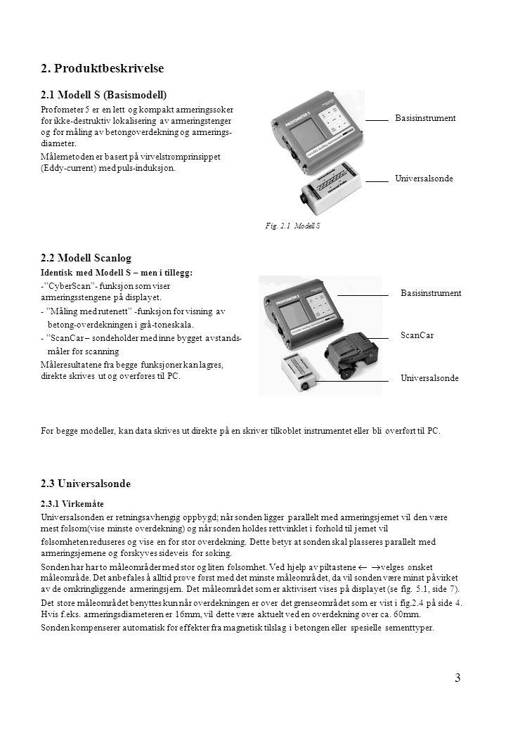 2. Produktbeskrivelse 2.1 Modell S (Basismodell) 2.2 Modell Scanlog