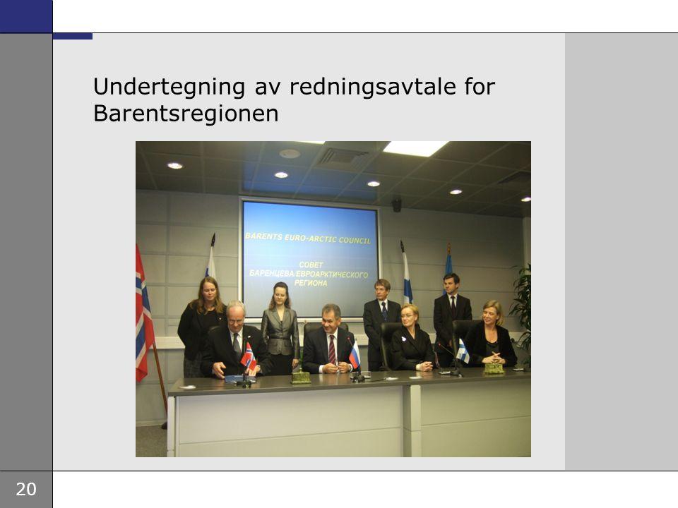 Undertegning av redningsavtale for Barentsregionen