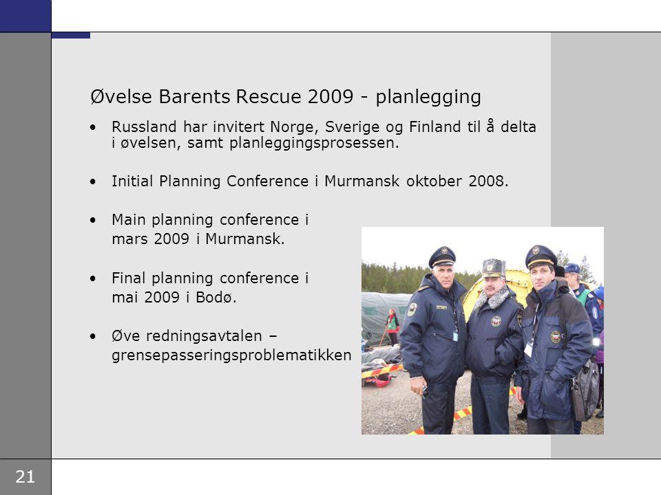 Øvelse Barents Rescue 2009 - planlegging