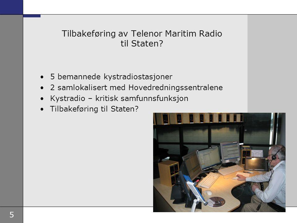 Tilbakeføring av Telenor Maritim Radio til Staten