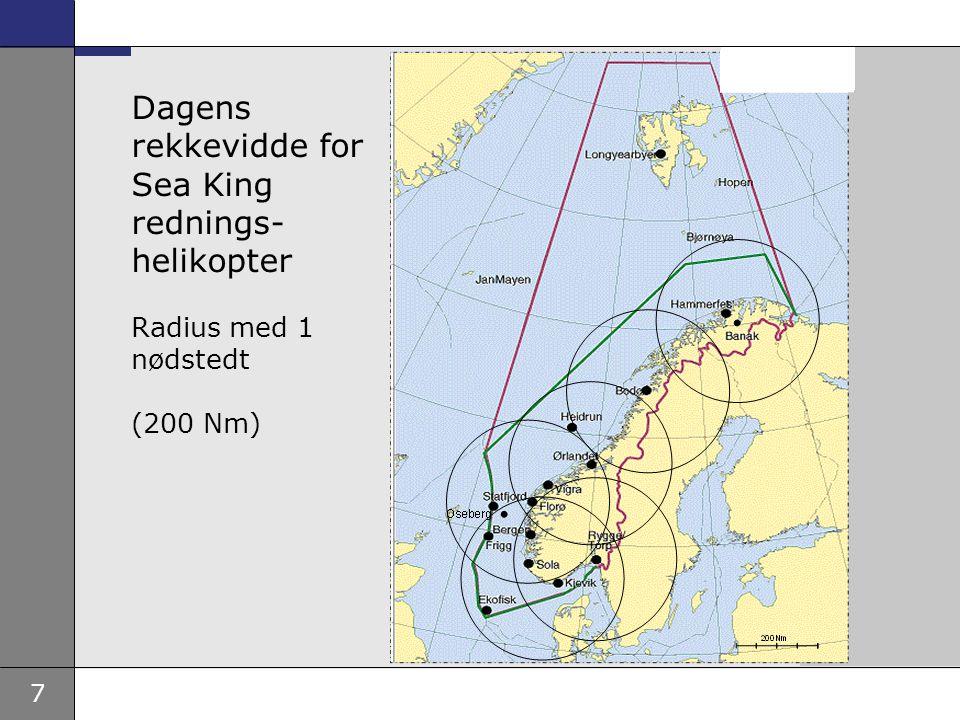 Dagens rekkevidde for Sea King rednings-helikopter Radius med 1 nødstedt (200 Nm)