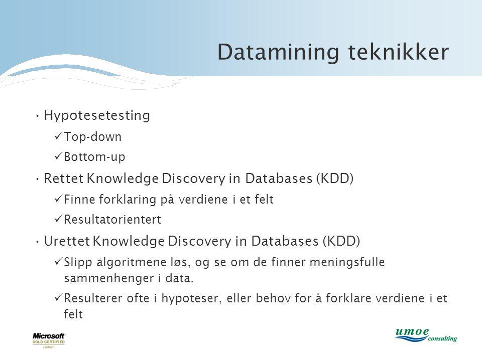 Datamining teknikker Hypotesetesting