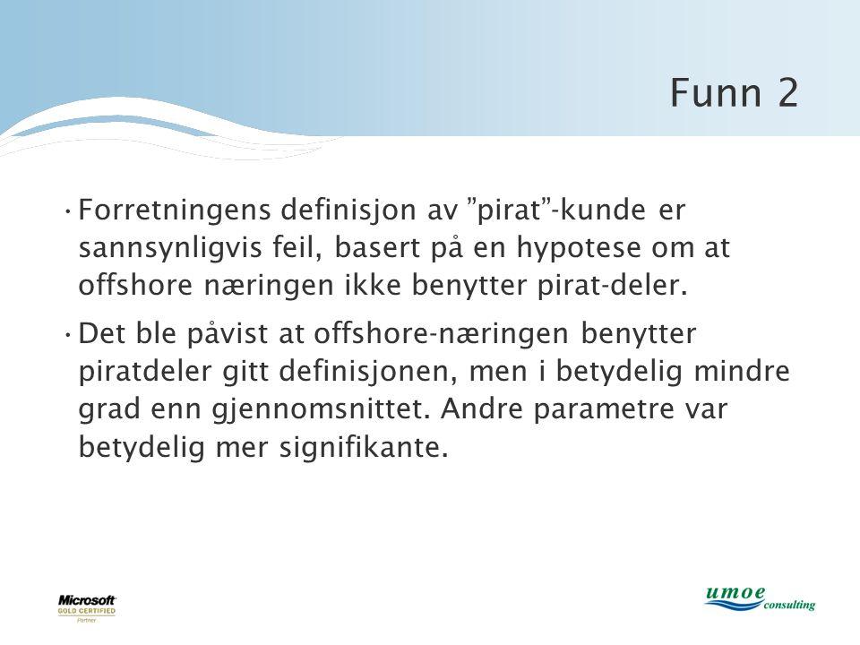Funn 2 Forretningens definisjon av pirat -kunde er sannsynligvis feil, basert på en hypotese om at offshore næringen ikke benytter pirat-deler.