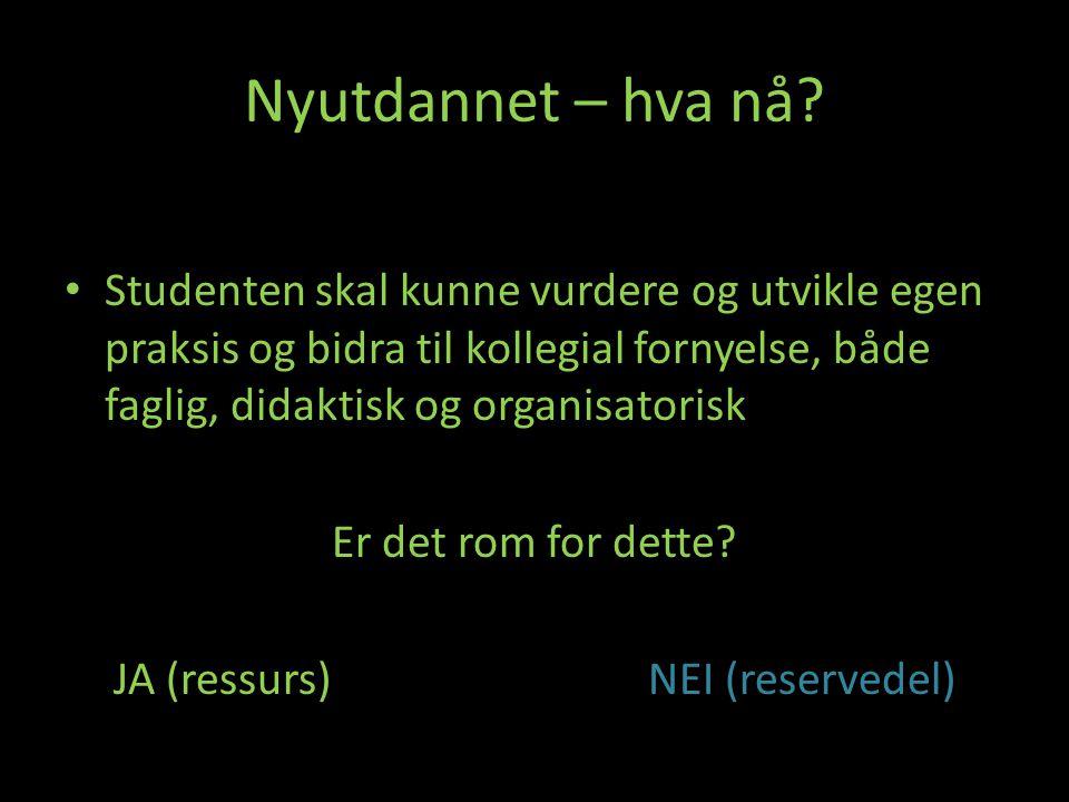 JA (ressurs) NEI (reservedel)